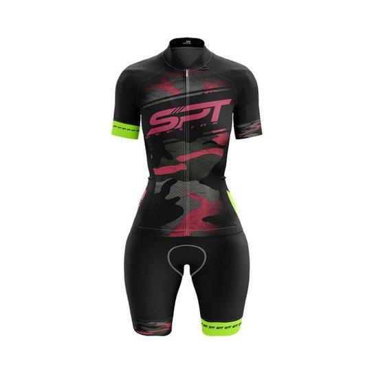 Macaquinho Ciclismo Spartan Spt Manga Curta Proteção UV Ref 13 - Preto