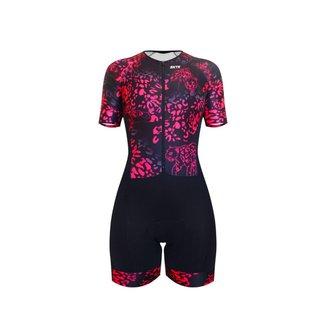 Macaquinho Ciclismo Sportxtreme Comfort Selva Rosa Manga Curta