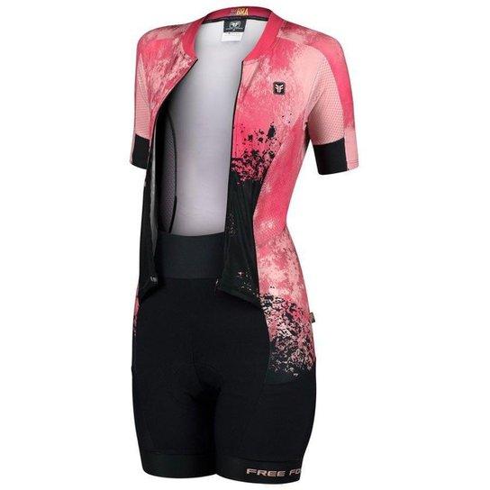 Macaquinho de ciclismo feminino Free Force New Desert forro Invert Gel - Coral