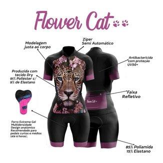 Macaquinho de Ciclismo Feminino Manga Curta Flower Cat