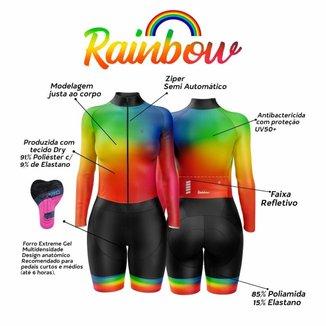 Macaquinho de Ciclismo Feminino Rainbow