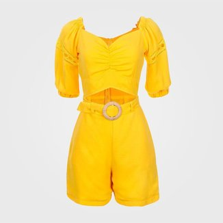 Macaquinho Feminino Curto Ombro a Ombro - Amarelo M Vértice