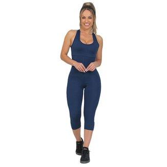 Macaquinho Feminino Fitness Corsário Azul Escuro