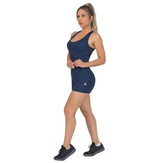 Macaquinho Feminino Fitness Shorts Azul Escuro