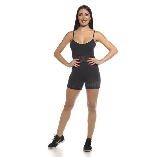 Macaquinho Fitness SSTYLE com Tela - Preto