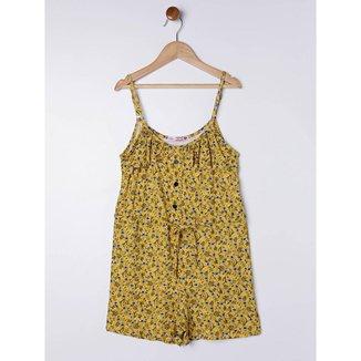 Macaquinho Floral Juvenil para Menina - Amarelo