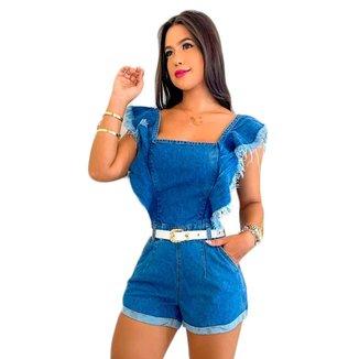 Macaquinho Jeans Curto Feminino Com Cinto Barra Feita