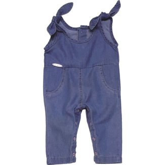 Macaquinho Jeans Menina Algodão Conforto Dia a Dia