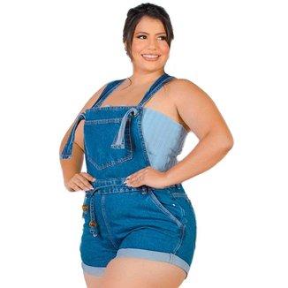 Macaquinho Jeans Plus Size Feminino Alça Regulável Com Cinto
