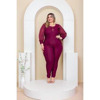 Macaquinho Plus Size  Com Tule Roupas Femininas GG 48 ao 52