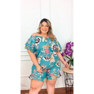 Macaquinho Plus Size Estampado Roupas Femininas GG 48 ao 52