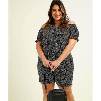 Macaquinho Plus Size Feminino Open Shoulder Estampado - 10047547346