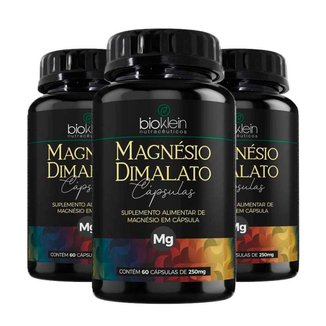 Magnésio Dimalato - 3 unidades de 60 Cápsulas - Bioklein