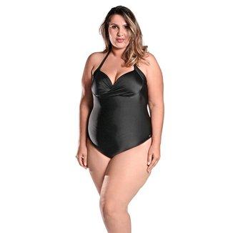 Maiô Body Plus Size Frente Única com Bojo e Alças Finas Preto