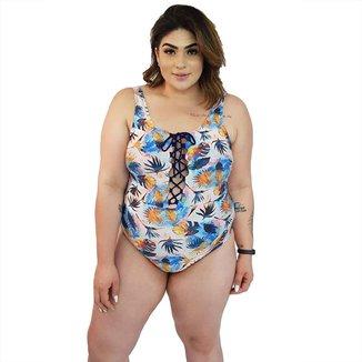 Maiô Body Plus Size Trançado com Bojo Removível Tropical
