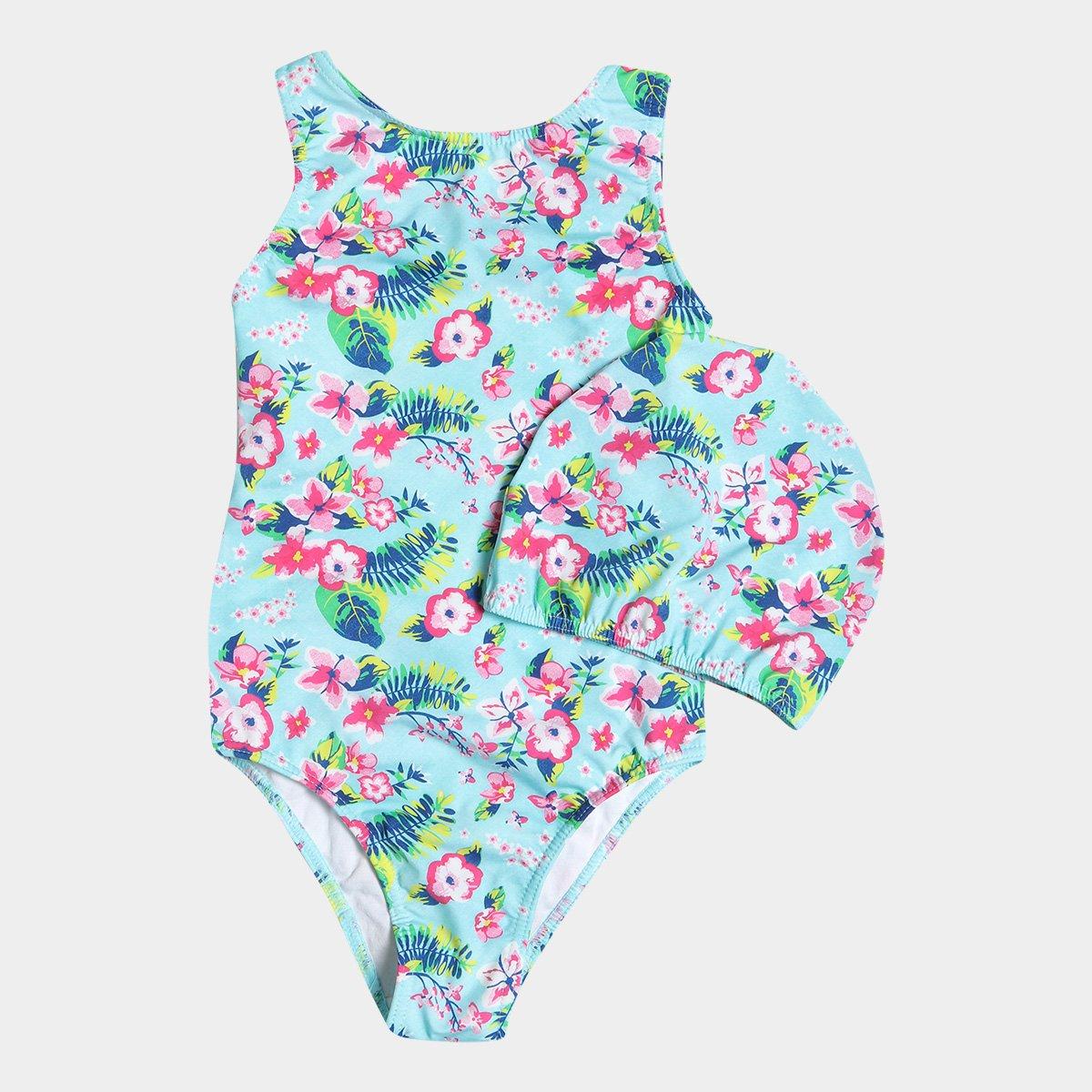 8532a9a50a1df Maiô Infantil Tip Top Summer Flower + Touca - Compre Agora