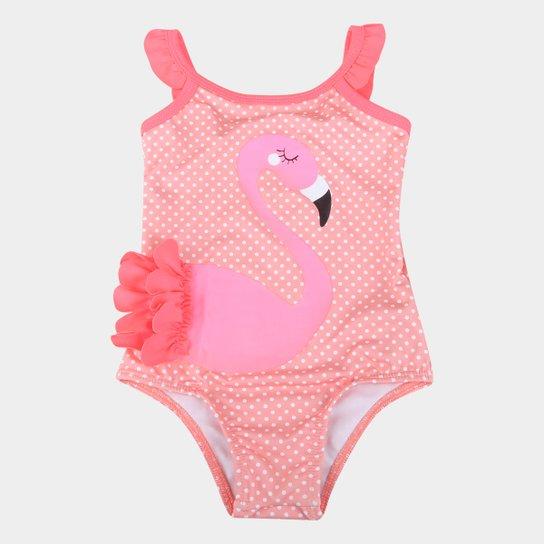 Maiô Juvenil Boca Grande Sublimado Flamingo Proteção UV 50+ - Rosa