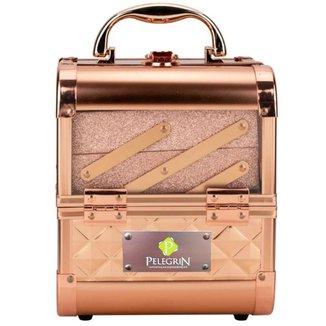 Maleta Maquiagem Joias Alumínio e Acrílico Pelegrin PEL-M1012 Rose Gold