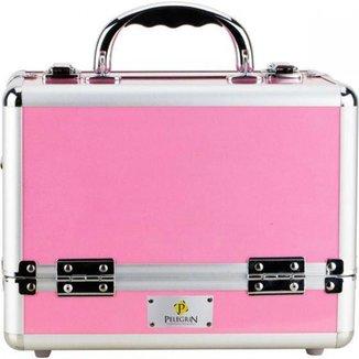 Maleta Maquiagem Joias Manicure Alumínio ABS Pelegrin PEL-M1009 Rosa