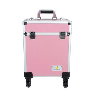 Maleta Maquiagem Joias Manicure Alumínio ABS Pelegrin PEL-M1032 Rosa