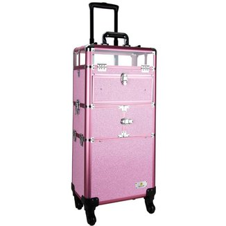 Maleta Maquiagem Profissional Alumínio ABS 3 em 1 Pelegrin PEL-M1022 Rosa Cristal