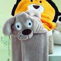 Manta De Microfibra Baby Jolitex Com Capuz De Cãozinho Bege