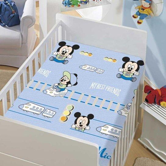 Manta Infantil Menino Soft Disney Mickey e Trenzinho Jolitex - Azul