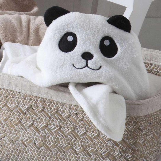 Manta Microfibra Baby Jolitex Com Capuz De Urso Panda Branco - Branco