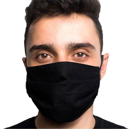Máscara de Proteção Adulto Tricoline Lavável Dupla Face - Preto+Cinza