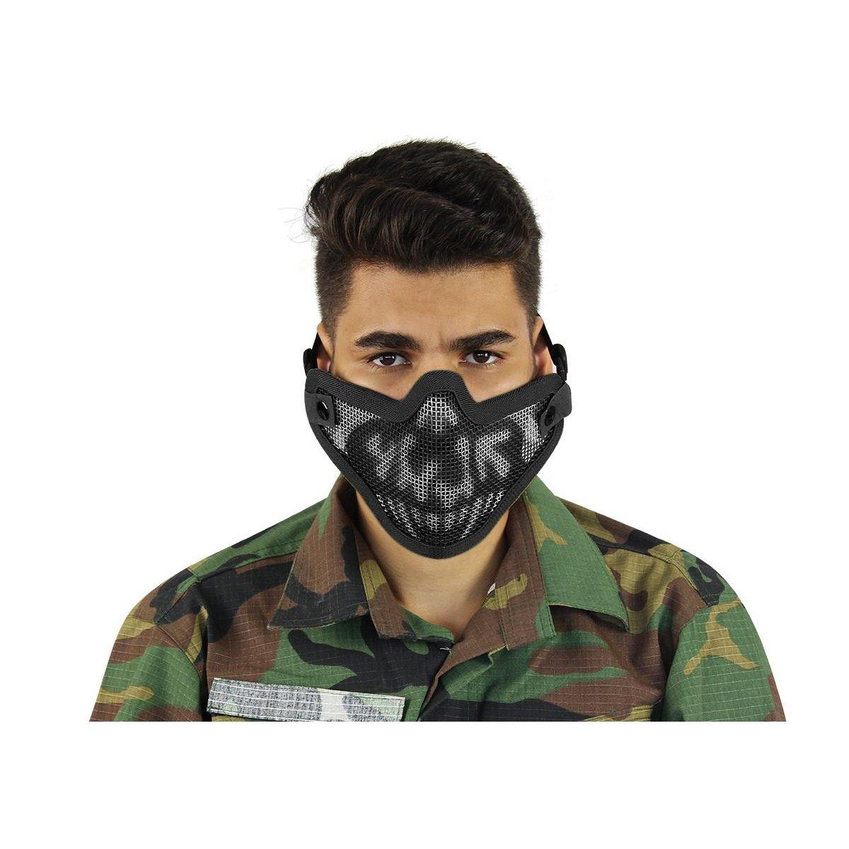 af9c2ac3e4559 Máscara de Proteção Airsoft Meia Face Caveira Preta HY-024BK - Preto ...