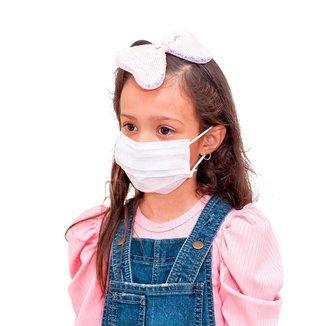Mascara Descartavel Cirurgica Tripla Branca Kids Kit 50 Und