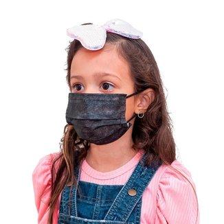 Mascara Descartavel Cirurgica Tripla Preta Kids Kit 50 Und