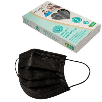 Mascara Descartavel Cirurgica Tripla Preta Kit 10 Und