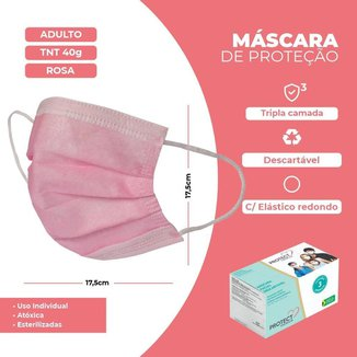 Mascara Descartavel Cirurgica Tripla Rosa Kids Kit 10 Und