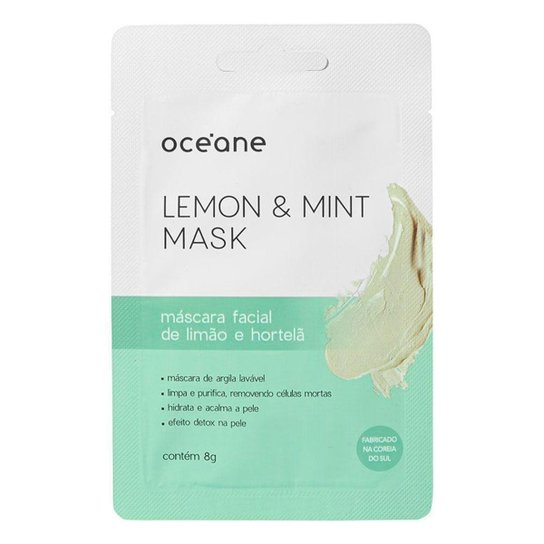 Máscara Facial Océane – Limão e Hortelã 8g - Incolor