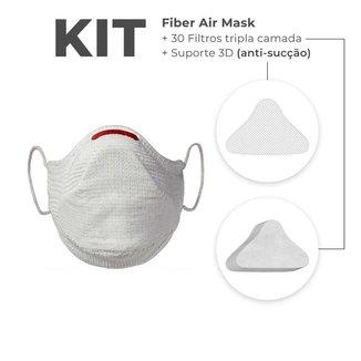 Máscara FIBER Knit AIR + 30 Filtros de Proteção + Suporte - Branco