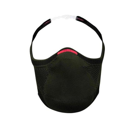 Máscara Knit de Proteção Ajustável com Suporte para Filtro - Verde - Verde+Marrom