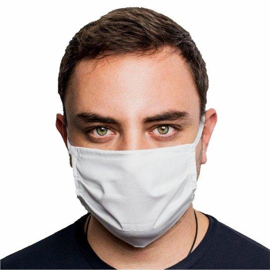 Máscara Protetora Dupla Face Reutilizável Lavável com Clipes Nasal - Branco