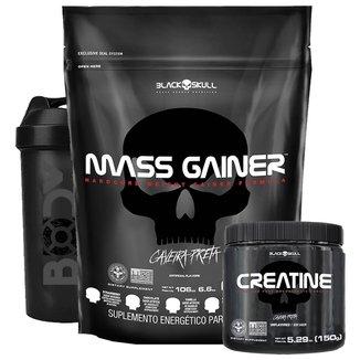 MASS GAINER 3KG + CREATINA 150G + COQUETELEIRA - BLACK SKULL (MORANGO)