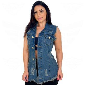 Max Colete Jeans Feminino Destroyed - EWF Jeans - Marmorizado