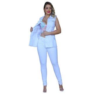 Max Colete Jeans Feminino Longo Com 2 Bolso Super Lindo Azul
