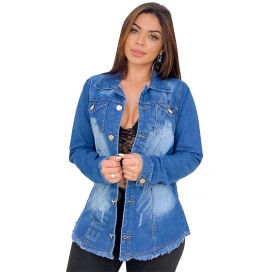 Max Jaqueta Jeans Feminina Destroyed - EWF Jeans - Azul Escuro - Azul Escuro