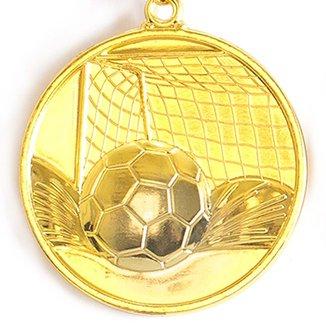 Medalha Gigante AX Esportes 64mm Futebol em Alto Relevo 3D Dourada - FA489