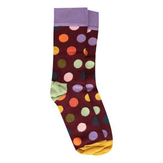 Meia 3/4 Happy Socks Big Dot Sock Feminina - Roxo+Laranja