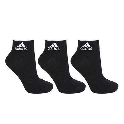 Meia Adidas Ankle Thin Pacote C/ 3 Pares Cano Médio