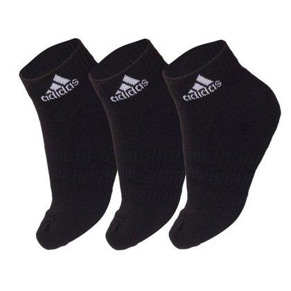 Meia Adidas Cano Curto Cushioned Ankle Preta - Pack com 3 unidades - 35 ao 37