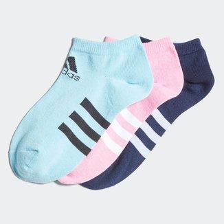 Meia Adidas Cano Curto Listras C/ 3 Pares