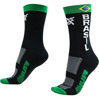 Meia Corrida Ciclismo HUPI Brasil Flag Cano Médio Tam 36-42