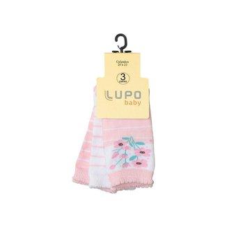 Meia Infantil Lupo Baby Cano Médio Kit c/ 3 Pares