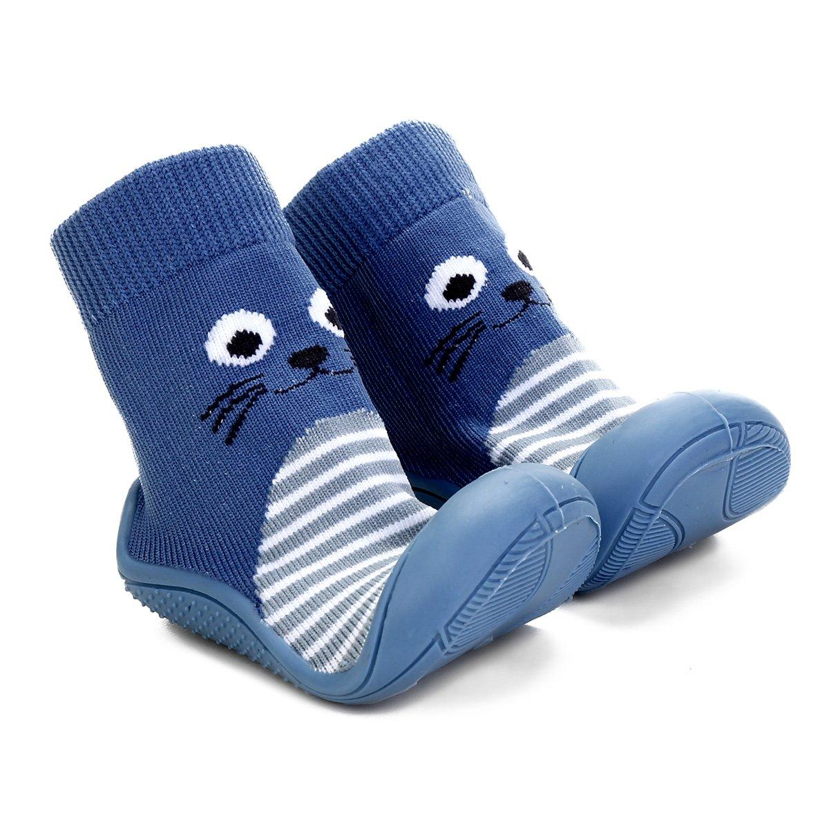 04fe70418c7 Meia Infantil Pimpolho Cano Longo Solado Estampada - Azul e Cinza - Compre  Agora